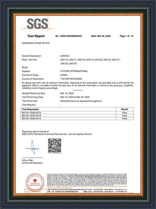 Certificado de SGS